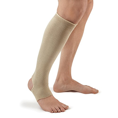 Futuro Therapeutic Knee Length Stocking for Men/Women, Helps Relieve Symptoms of Mild Spider Veins, Firm Compression, Open Toe/Heel, Large, Beige, 1 Count