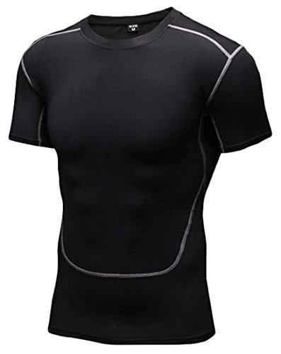 H&E Mens Athletic T-shirts Baselayer Short Sleeves Sports Compression shirts Activewear Tops,Compression Tops Black X-Large