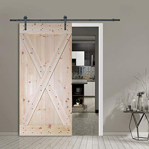IM AMELIA 6FT Frosted Black Sliding Door Hardware w/Unfinished Pine Interior DIY Barn Door