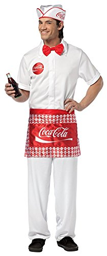 Costumes Adult Cocacola (Lets Party By Rasta Imposta Coca-Cola - Soda Jerk Man Adult Costume / White/Red - One)