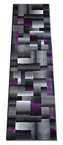 2'x7'7' Runner Area Rug (Masada Rugs, Modern Contemporary Runner Area Rug, Purple Grey Black (2 Feet X 7 Feet))