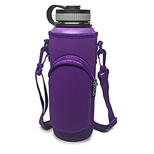 40oz Pocket Carrier for Hydro Flask Type Bottles with Adjustable Straps Neoprene Sleeve / Pouch / Bag)- Also Great for Lifeline Fifty Fifty, Yeti, Thermo Flasks