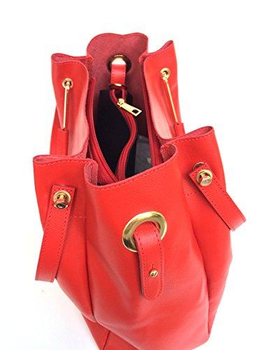 SUPERFLYBAGS Borsa Secchiello Donna in Vera Pelle + Sacca interna modello Manuela Made in Italy Rosso