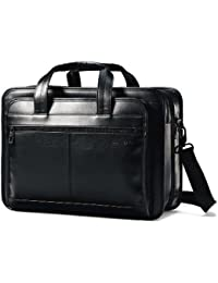 Leather Expandable Briefcase, Black, One Size