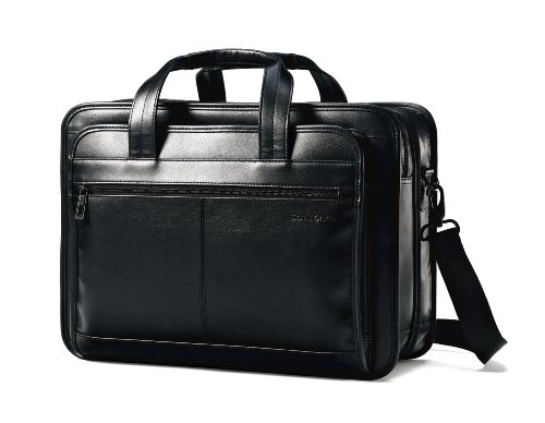 Black Leather Expandable Briefcase Business Bag