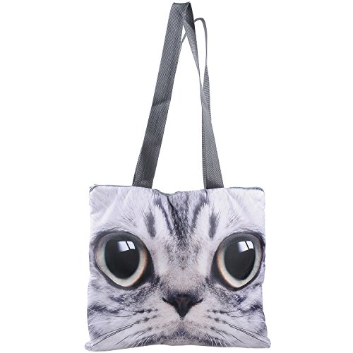 Aircee 3D Effect Big Cat Face Lovely Large Size Bag Square Shape Girls Backpack (Face - Square Shape Face