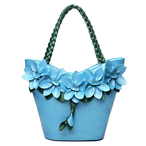 SUNROLAN Women's Shoulder Bag Handbag Tote Purse PU Leather Crossbody 3D Flower with Weave Handle ()