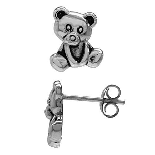 925 Sterling Silver Teddy Bear Teens/Girls Casual Post/Stud Earrings