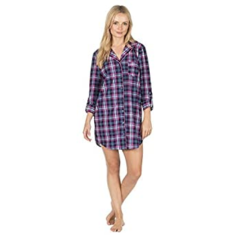 Ladies Flannel Night Shirt Nightie Soft Flannel Tartan Button Up Shirt Style  (Extra Large 20-22 4aea0c2f5
