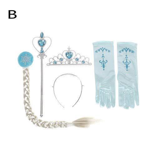 Magic Princess Wand - 4pcs Set Elsa Anna Cosplay Crown Magic Wand Braid Gloves Rhinestone Hair Glove Girl 5 Styles - Poms Super Sunglasses Noise Birthday Unicorn Light Baby Adult -