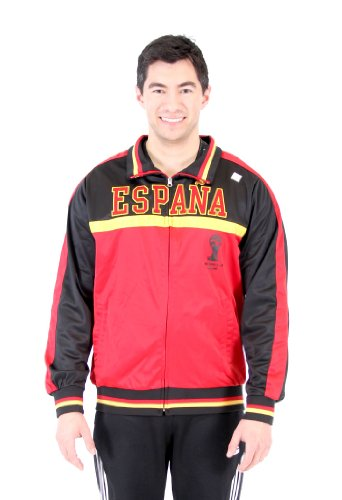 Men's 2014 FIFA World Cup Soccer Hat Trick Espana Yoke Track Jacket (Adult Medium) (Country Soccer Jacket Track)