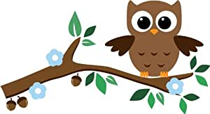 Cute baby Owl wall stickers with leaves, flower, and branch - Removable Decoration Wall Decal. cute wall art wall quote wall saying