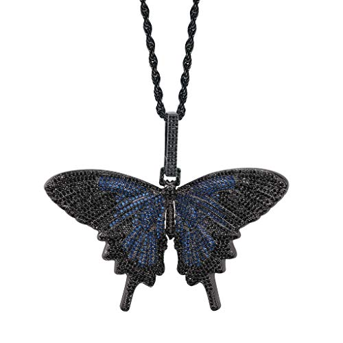 TOPGRILLZ Fully Iced Out Lab Diamond 3D Butterfly Pendant Necklace for Men and Women Hip Hop Birthday Jewelry Gifts (Black and - Black Butterfly Pendant