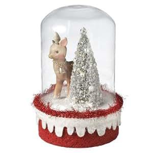 Pack of 2 Deer and Tree Scene Encased in Cloche Bell Jar Christmas Decorations