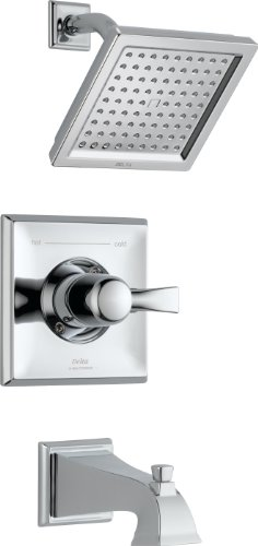 (Delta Faucet Dryden 14 Series Single-Function Tub and Shower Trim Kit with Single-Spray Touch-Clean Shower Head, Chrome T14451 (Valve Not Included))