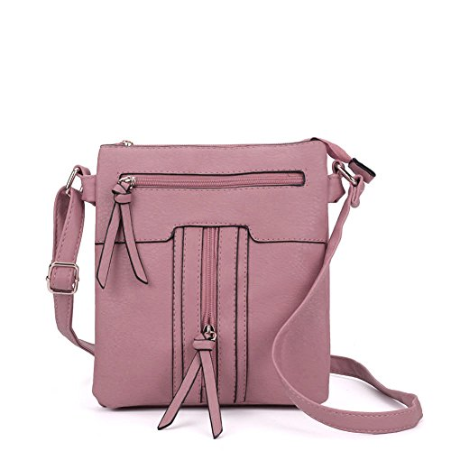 Pink Multiple SALLY High YOUNG Fashion Bag pockets Women zipped Quality Leather Body PU Cross Oq0OFr