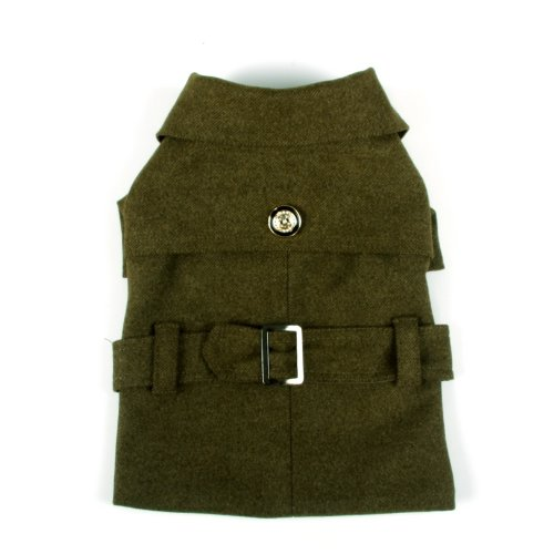 Galore Back-Buckled Fashion Wool Pet Coat, Small, Olive Green