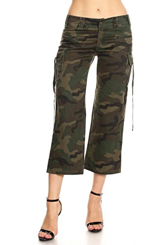 Capri Pants Cargo (Funteze Army Print Cropped Capri Cargo Pants (Medium))