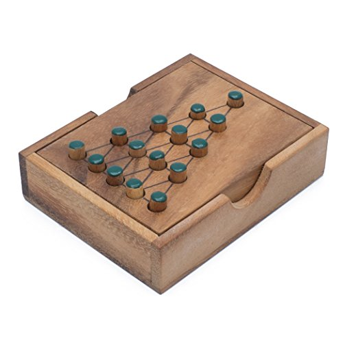 Wooden Solitaire Tree: Handmade & Organic Traditional Wood Peg Game for Adults from SiamMandalay with SM Gift - Gift Solitaire Box