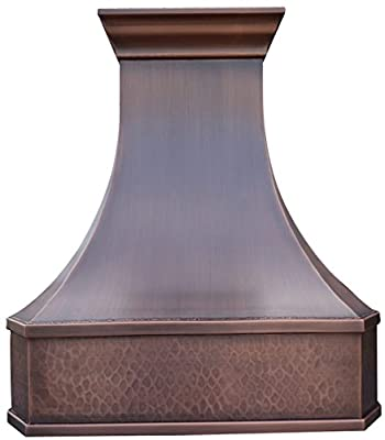 Copper Best H3 362142LS Wall Mount Copper Custom Oven Hood with 660CFM Range Hood Inserts 36 inches
