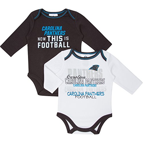 NFL Carolina Panthers Girls Long Sleeve Bodysuit (2 Pack), 18 Months, Black/White