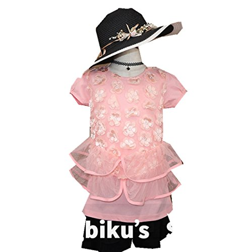 MV Children's Clothing Summer New Girls T-Shirt Large Lace Short-Sleeved Shirt by MV