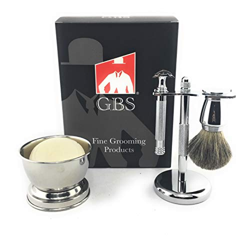 (GBS Safety Razor Shave Kit - Twist Open Safety Razor with Open Comb, Pure Badger Chrome Shave Brush, Chrome Shaving Soap Bowl, Stainless Steel Brush & Razor Stand, Natural Shave Soap + Blades)