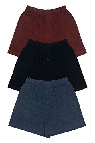 Texere Mens Boxer Shorts (Sancus, Black/Heather Blue/Heather Burgundy, L) Soft