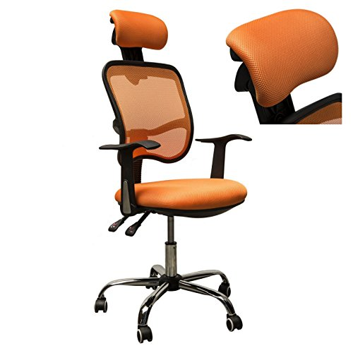 Adjustable Mesh Task Computer Desk Office Chair High Back with Headrest Swivel Orange #507 (Patio Parts Edmonton Heater)