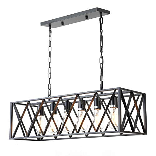 6-Light Industrial Kitchen Island Lighting with E26 Sockets, Rectangular Vintage Pendant Light, Farmhouse Hanging Ceiling Light Fixture 360W Max(No Bulb Included)