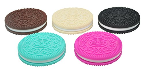 Pacifier Cookie (Mamiton 5pcs Mix Color BPA free silicone Oreo cookie teether as nursing pendant, for making DIY designs baby pacifier clips)