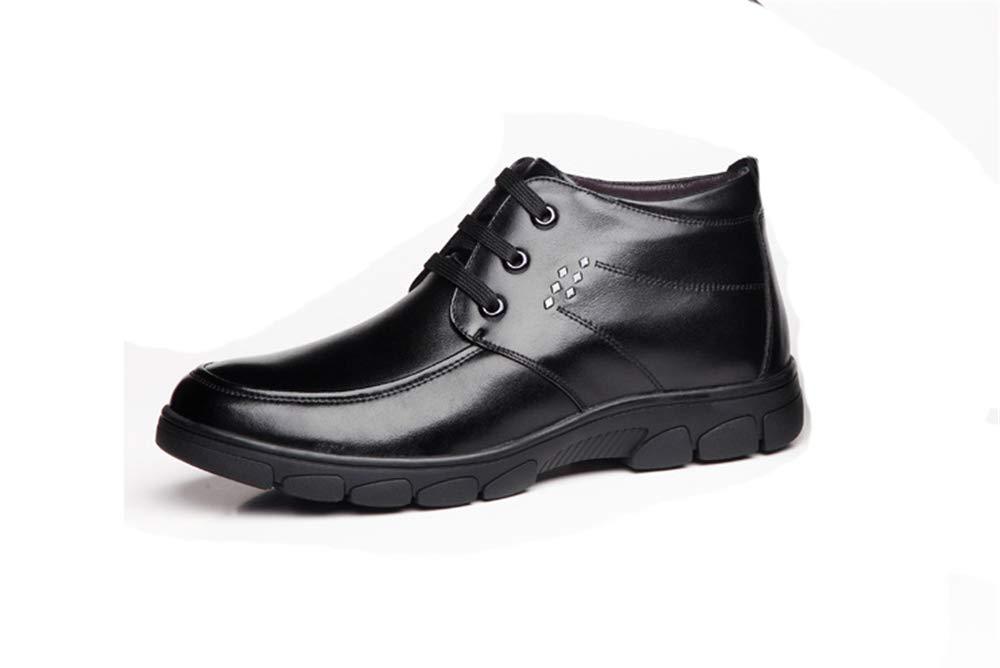 Fuxitoggo Mens Lace up Echtes Leder Stiefel Weiche Sohle Rutschfeste Casual Atmungsaktive Stiefel (Farbe   Schwarz, Größe   EU 43)