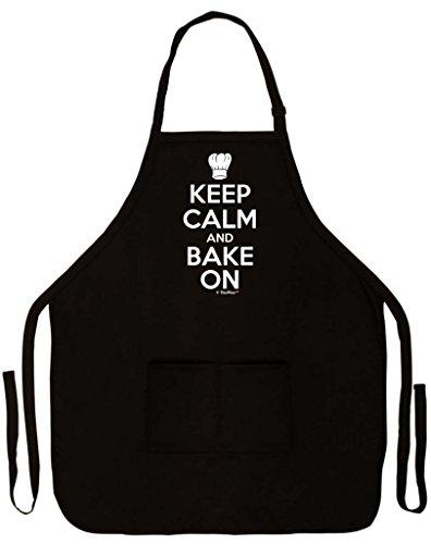 ThisWear Keep Calm Bake On Funny Apron Kitchen Baker Baking Two Pocket Apron Women Men Black