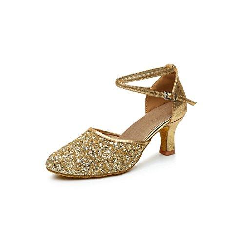 GetMine Womens Latin Dance Shoes Heeled Ballroom Salsa Tango Party Sequin Dance Shoes Gold 9