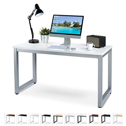 "Gray Powder Coated Frame (Office Computer Desk – 55"" White Laminated Wooden Particleboard Table and Gray Powder Coated Steel Frame - Work or Home – Easy Assembly - Tools and Instructions Included – by Luxxetta)"