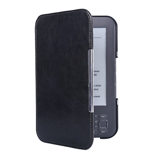 """Kindle Keyboard PU Leather Case Cover Book Style for Amazon Kindle 3rd Generation (2010) with Keyboard & 6"""" Display Black"""