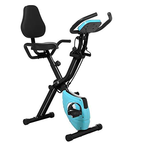 Profun Bicicleta Estática Plegable de Fitness con Respaldo Xbike con App Pantalla LCD 10-Niveles Ajustable para Ejercicio Entrenamiento en Casa a buen precio