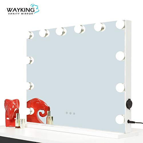"""WAYKING Vanity Mirror With Lights, Lighted Makeup Mirror with LED Bulbs, USB and Touch Switch, Light up Mirror for Home(White, 22.8""""X18.9"""")"""