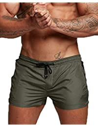 11c21f4263 Men's Beach Swimming Trunks Boxer Brief Swimsuit Swim Underwear Boardshorts  with Pocket