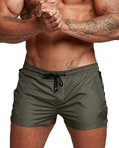 Flexible Brief Boxer Fit - Cocobla Men's Beach Swimming Trunks Boxer Brief Swimsuit Swim Underwear Boardshorts with Pocket (W-Army Green, XX-Large(fits Like US X-Large))