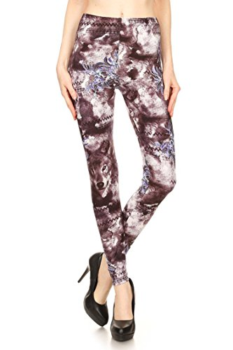 Leggings Mania Women's Native Wolf Print High Waist Leggings Dark Purple, One Size Fits Most (0-12), Wolf