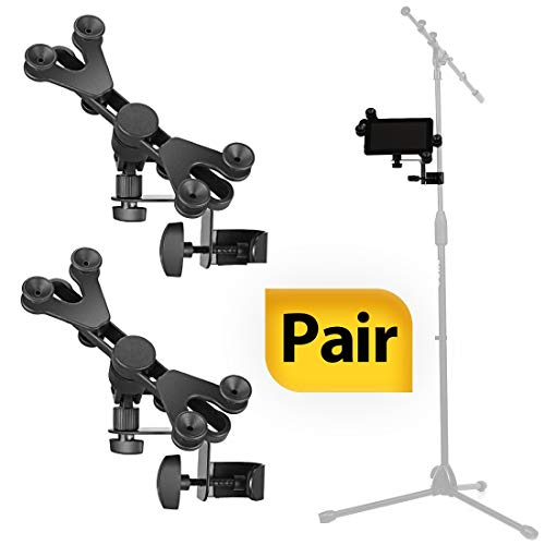 Pack of 2 - Hola! Music HM-MTH Microphone Music Stand Tablet/Smartphone Holder Mount - Fits Devices from 6 to 15 Inch