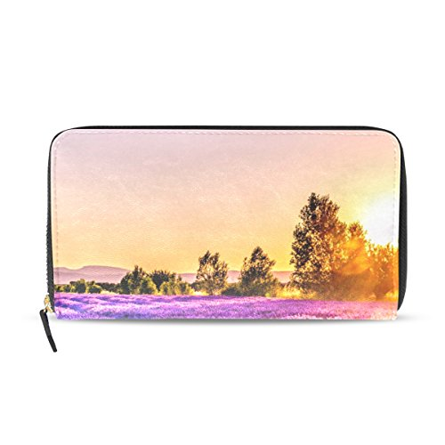 Ethel Ernest Sunset Over Lavender Field PU Leather Card Cash Coin Wallets Zipper Clutch Purse For Womens