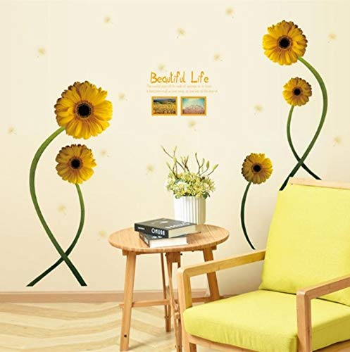 Meaosy Fake Photo Frame Effect Yellow Flowers Decorative Combination DIY Wall Sticker Decor Chrysanthemum Daisy Home Bedroom Wall Decal ()