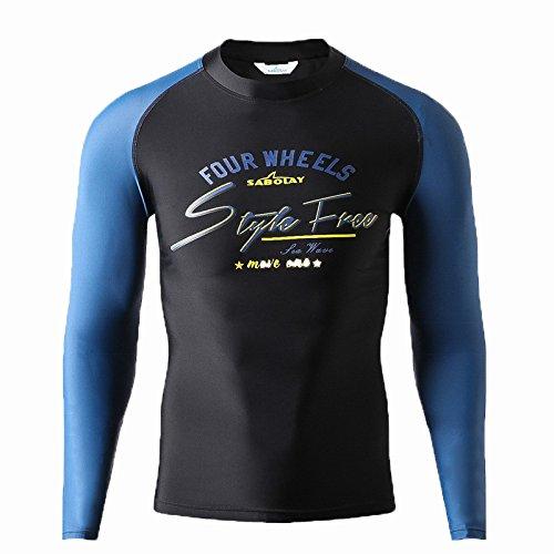 Larga Surf Masculino Bluelover Sol Beachwear Manga Protección S 5148 Claro De Ropa 3xl El Contra Azul Traje Baño 770FrX