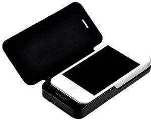 Vanda®-CARCASA FUNDA CON BATERIA INTEGRADA IPHONE 4 4G y 4S COLOR NEGRO EXTERNA AUXILIAR CARGADOR-Con el cuero-2000mAh