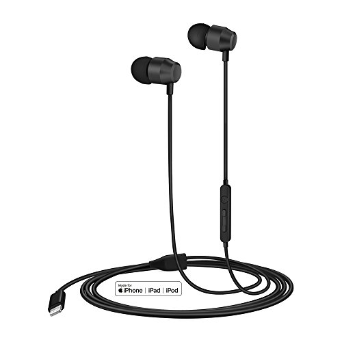 PALOVUE Earflow In-Ear Lightning Headphone Magnetic Earphone MFi Certified Earbuds with Microphone Controller for iPhone X iPhone 8/P iPhone 7/P (Metallic Black)