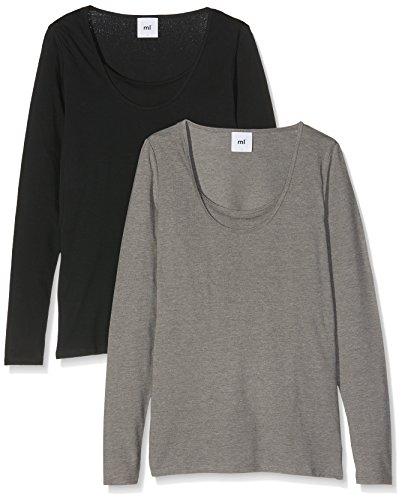 MAMALICIOUS, Camiseta de Manchas Largas Premamá para Mujer Negro (Black Pack:MEDIUM GREY MELANGE)