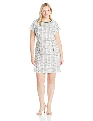 Sharagano Women's Plus Size Short Sleeve Boucle Dress, Ivory/Black, -