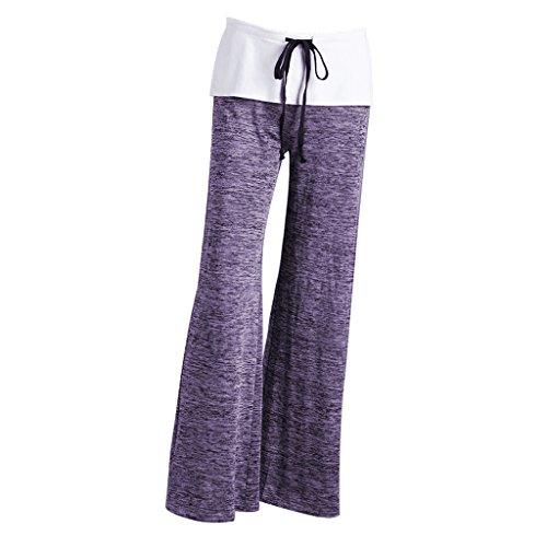 Pantalones Prettyia Confortable Pierna Ancha Mujeres Señoras Hermoso De P Yoga Regalo Deporte Púrpura Ajuste S5adgw